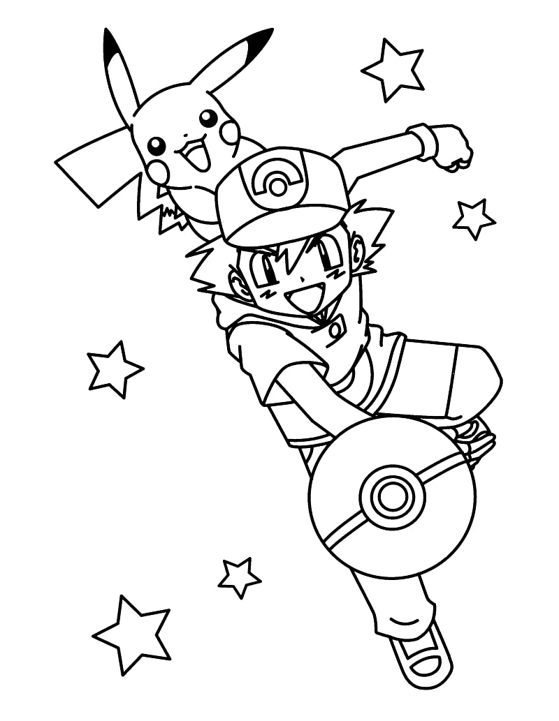 Ash Ketchum and Pikachu Throwing Pokeball