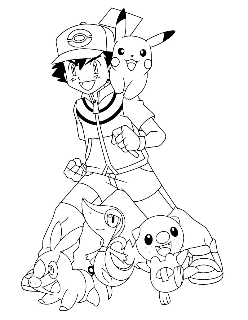 Ash Ketchum with his pets