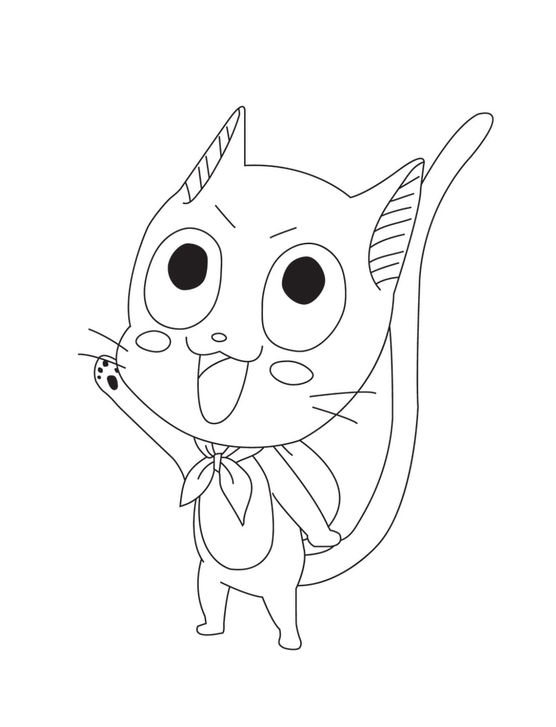 Printable Happy Cat Coloring Pages