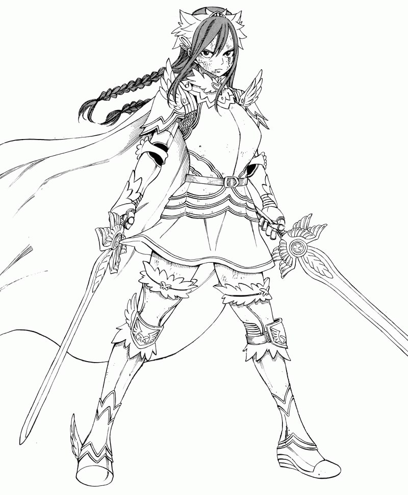 Printable Erza Scarlet  Coloring Pages