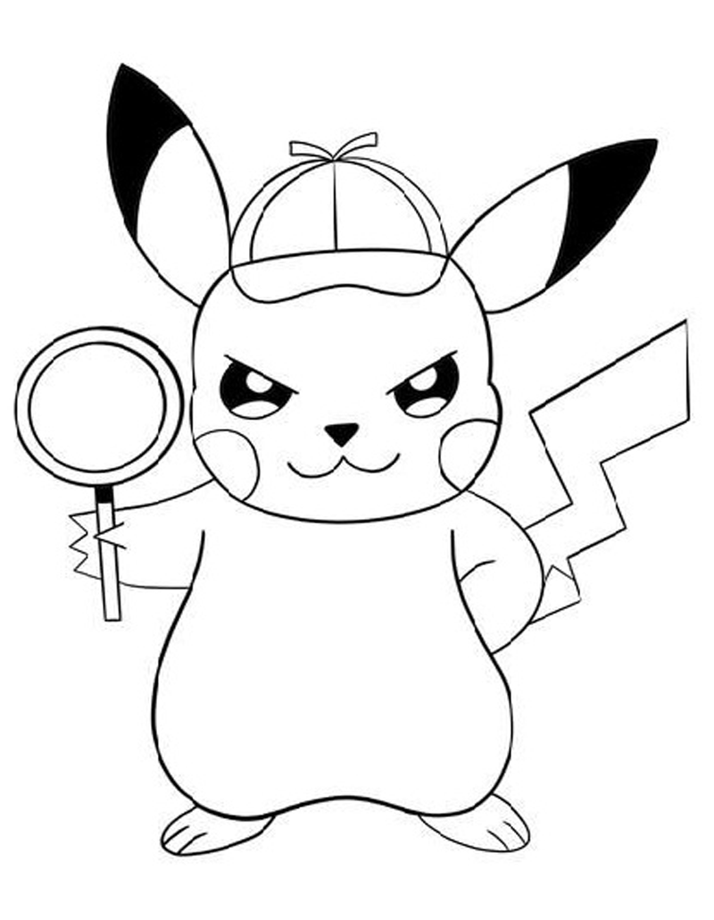 Pikachu and magnifying glass