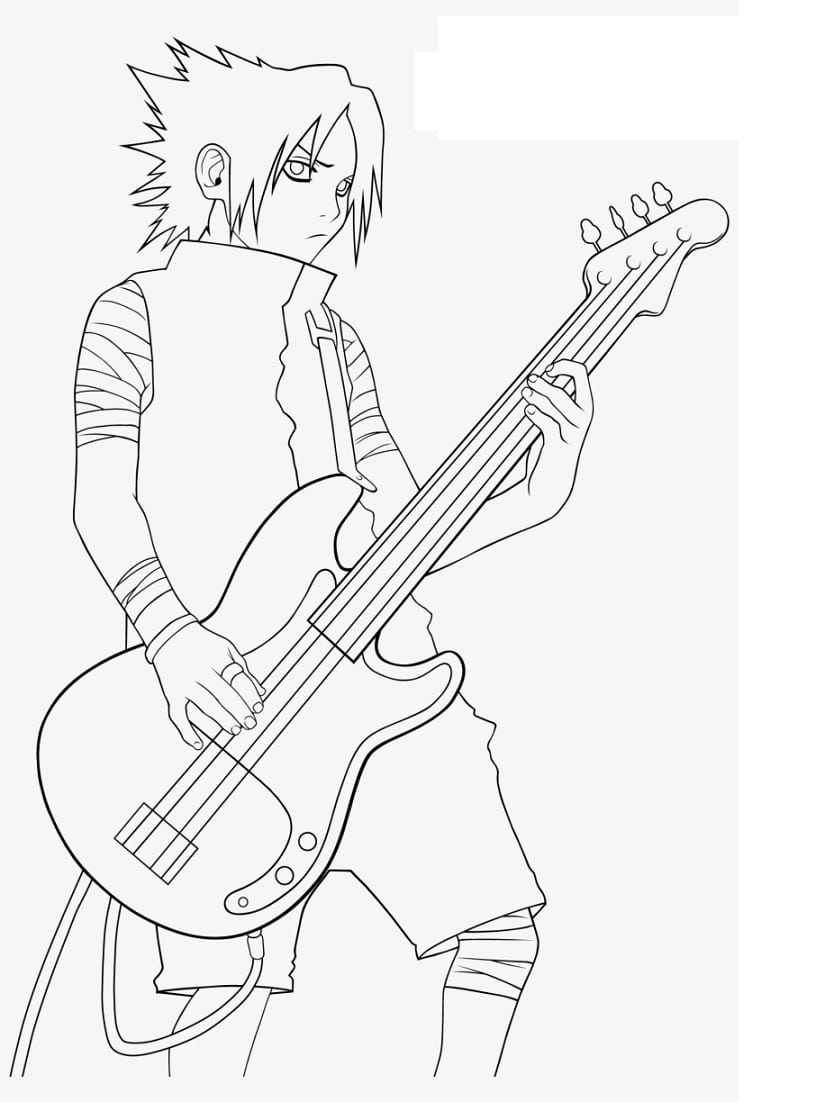 Sasuke Uchiha with a guitar