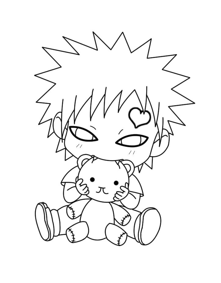 Gaara with a teddy bear