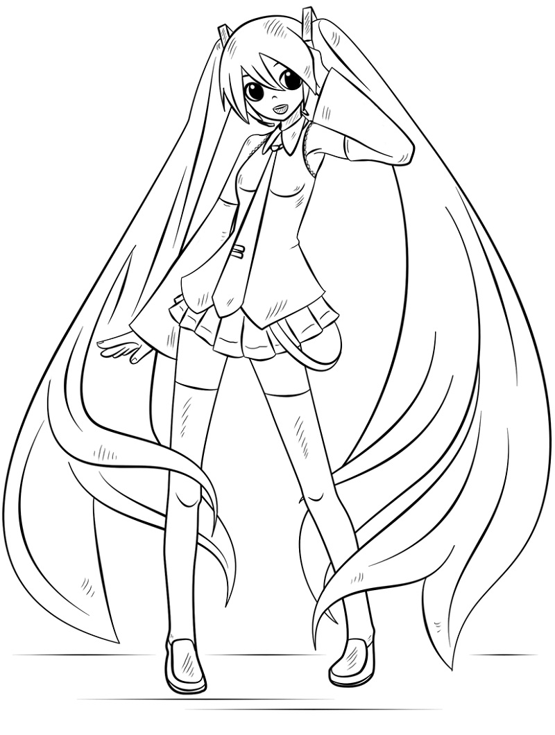 Printable Hatsune Miku Coloring Pages
