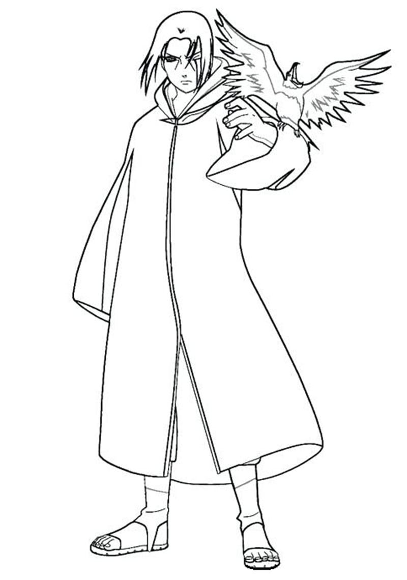 Itachi Uchiha with an Eagle