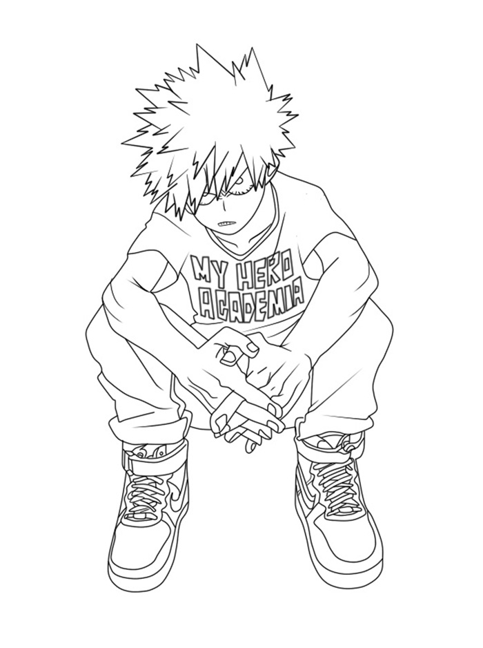 Printable Katsuki Bakugo Coloring Pages