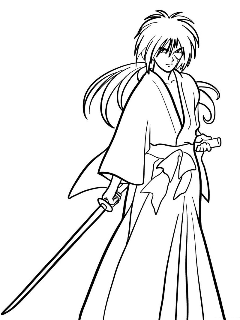 Printable Kenshin Himura Coloring Pages
