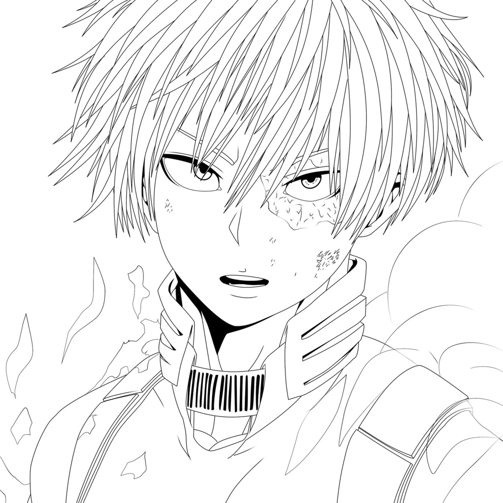 Printable Todoroki Shouto Coloring Pages Anime Coloring Pages