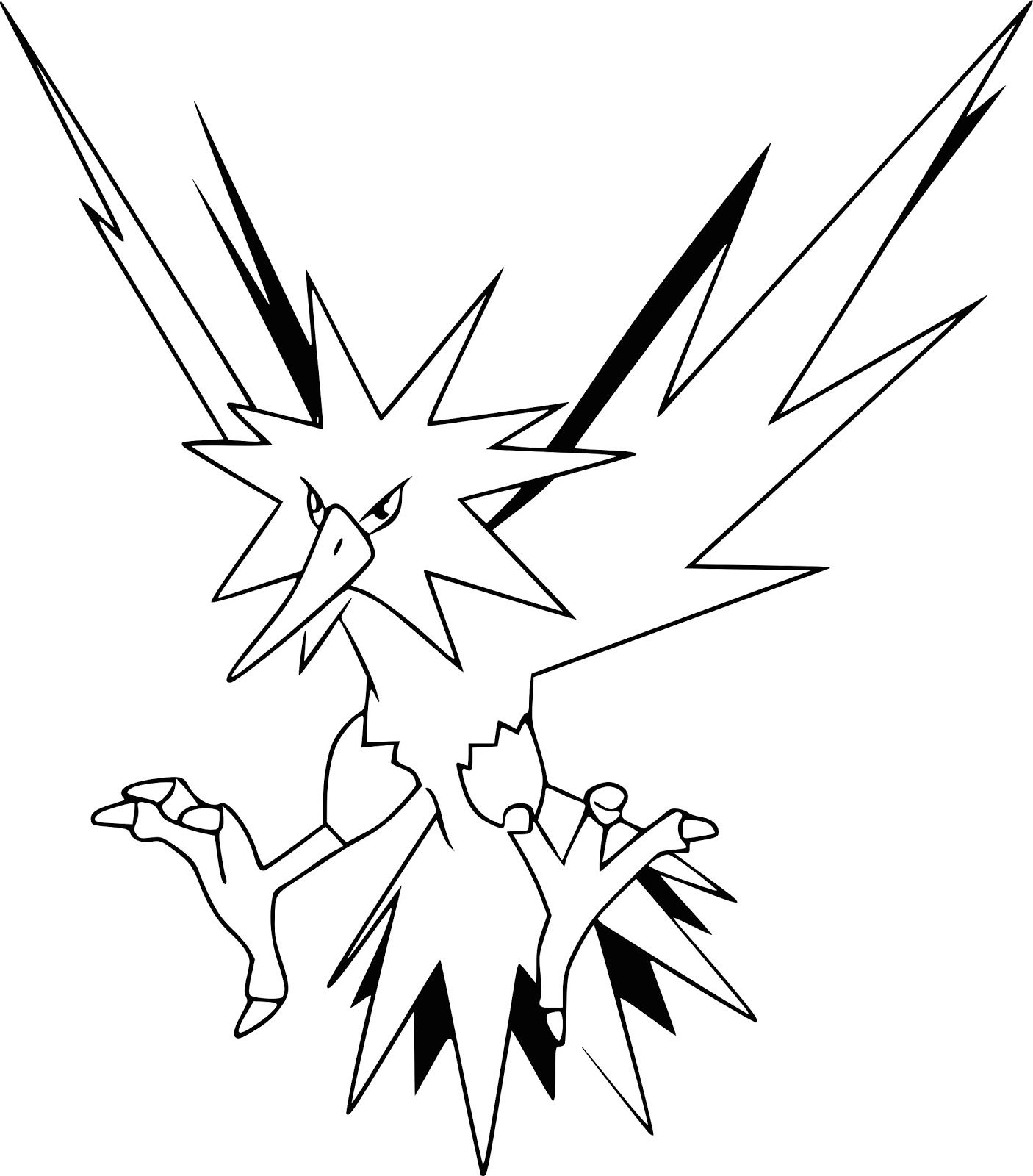 Printable Zapdos Coloring Pages