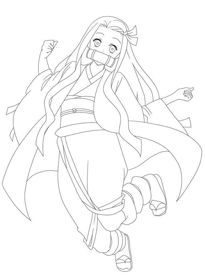 Printable Nezuko Kamado Coloring Pages