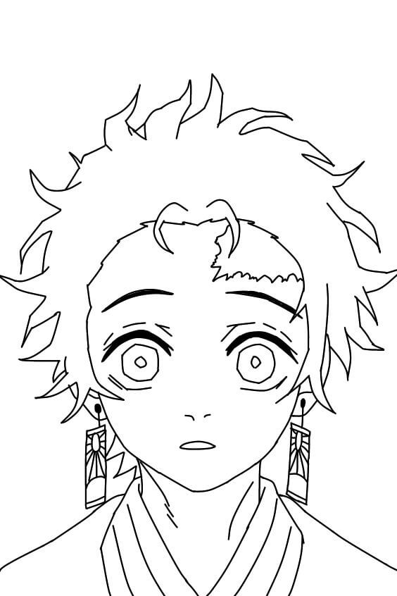Printable Tanjiro Kamado  Coloring Pages