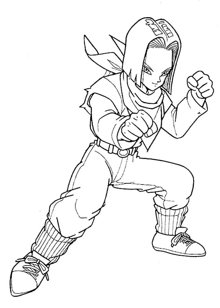 Printable Android 17 Coloring Pages