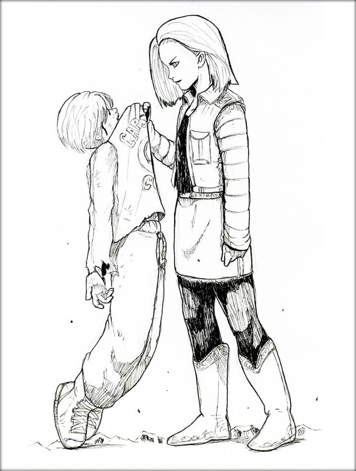 android 18 and a boy