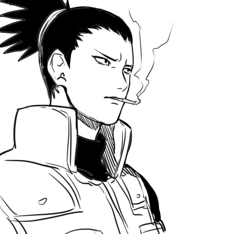 shikamaru is smoking