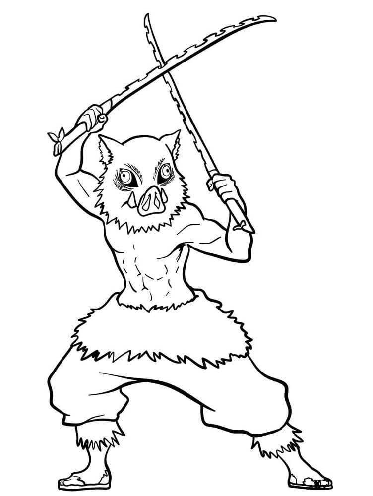 inosuke with swords