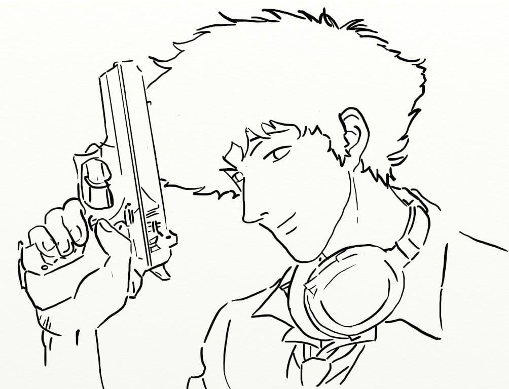 spike spiegel holding pistol