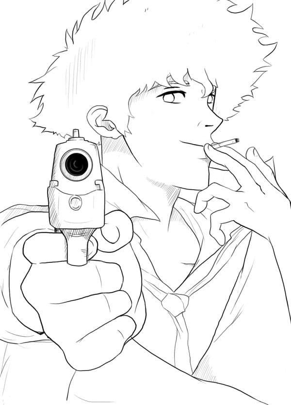 spike spiegel with a gun