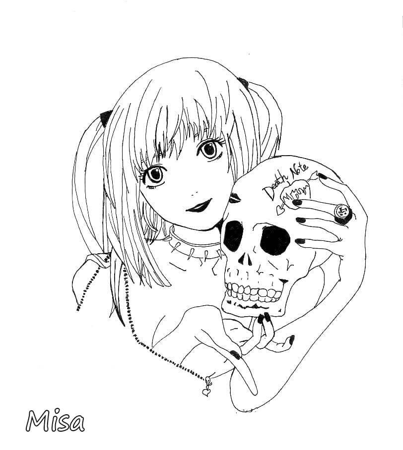 amane misa with a skull