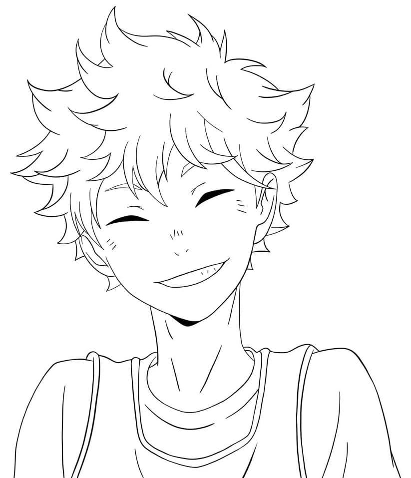 hinata shouyou is smiling